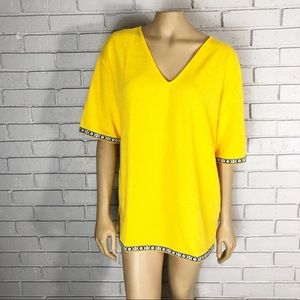Zara Women's Contrast Band Yellow T Shirt